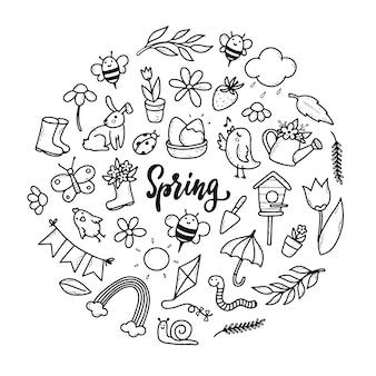 Set di scarabocchi di primavera