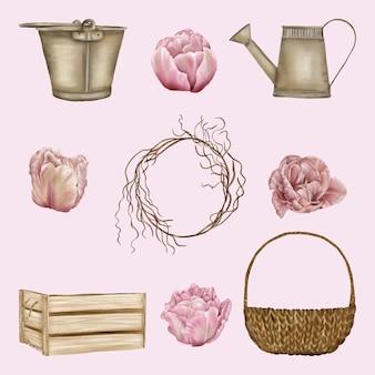 Set di elementi a molla con cesto, scatola e secchio