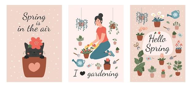 Set di biglietti di auguri di giardinaggio primaverile. signora delle piante con fiori, annaffiatoio e attrezzi da giardino. Vettore Premium