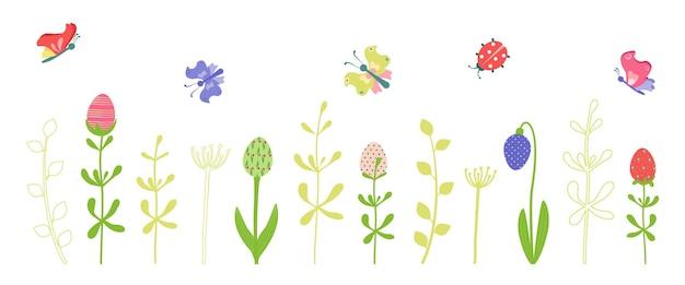 Set di elementi decorativi e icone primaverili ed estivi con uova di pasqua felici sotto forma di fiori, ramoscelli e farfalle. illustrazione vettoriale piatta per le vacanze di marzo e aprile