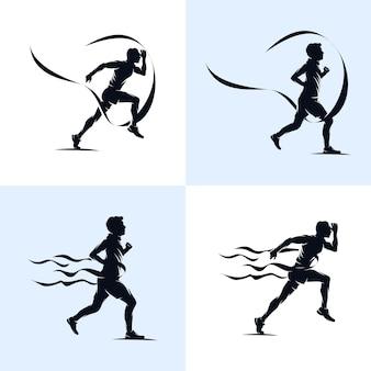 Set di sprint running athletics marathon modello di progettazione del logo