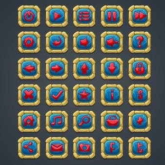 Set di pulsanti quadrati con elementi in pietra e simboli per l'interfaccia web e giochi per computer