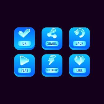 Set di pulsanti quadrati di ghiaccio con icone di gelatina per elementi di asset dell'interfaccia utente del gioco