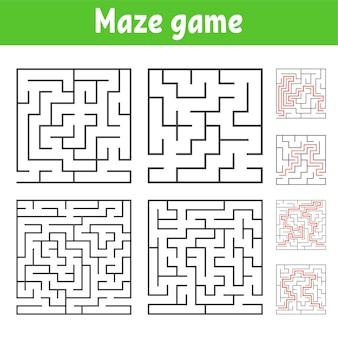 Un insieme di labirinti quadrati di vari livelli di difficoltà
