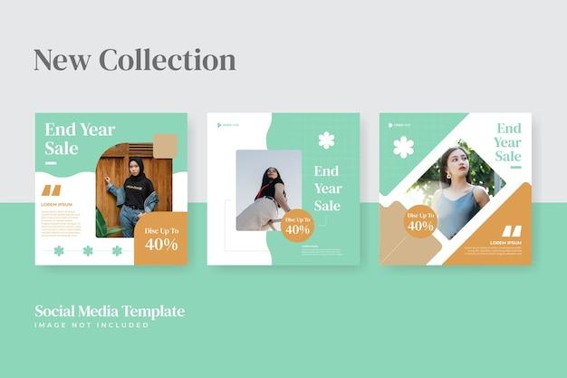 Set di temi quadrati di moda minimalista per modello di social media