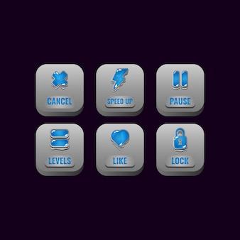 Set di pulsanti di pietra quadrati con icone di gelatina per elementi di asset dell'interfaccia utente di gioco