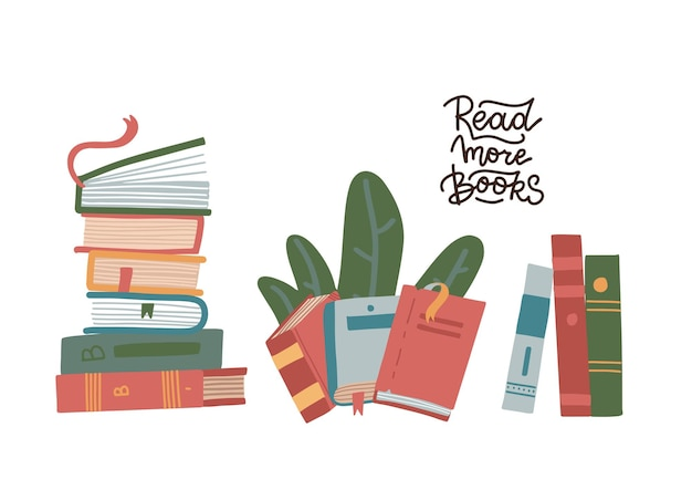 Set di pila di libri isolato
