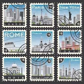 Serie di francobolli con diverse città e luoghi d'interesse. illustrazione vettoriale.