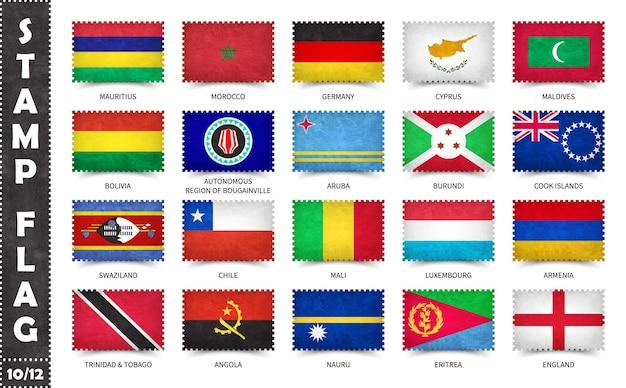 Serie di francobolli con bandiere nazionali ufficiali