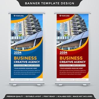 Set di design modello banner stand con stile astratto e layout moderno