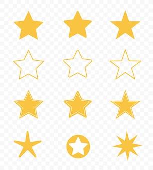 Set di stelle isolate su sfondo trasparente