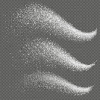 Set di stelle traccia luce scintillio scintillio con scia coriandoli di natale lucido.