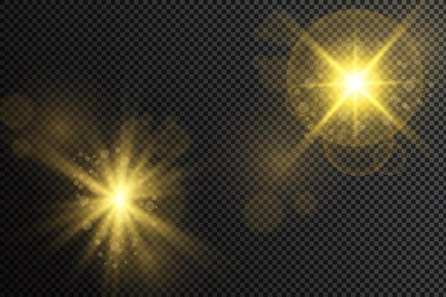 Un insieme di stelle di luce e radianza raggi e luminosità