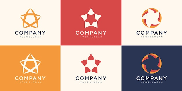 Insieme del modello di progettazione di logo di stelle