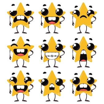 Imposta stelle con emozioni diverse. illustrazione vettoriale in stile infantile dei cartoni animati divertente