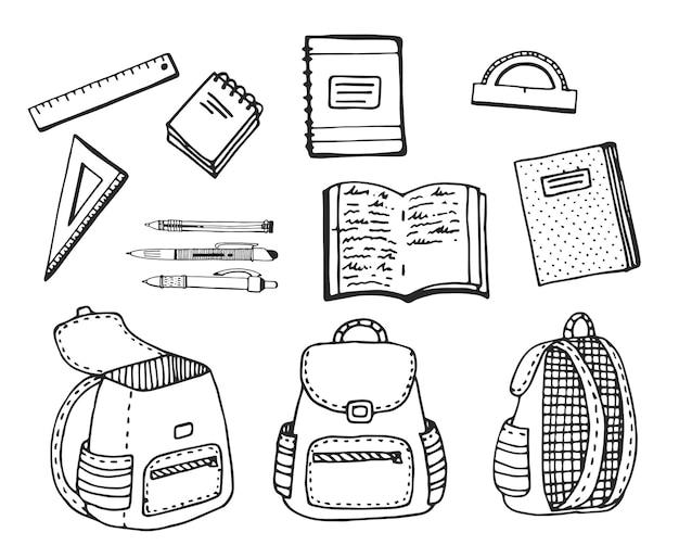Set di cancelleria e zaini per la scuola