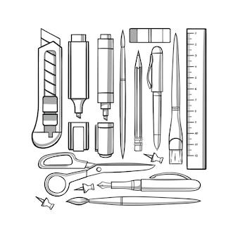 Set di strumenti di cancelleria. illustrazione disegnata a mano.