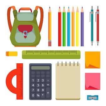 Un set di strumenti di cancelleria per uno studente o un architetto ragioniere scolaro
