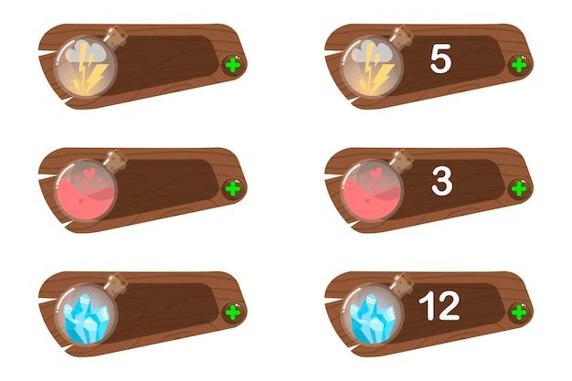 Set di icone di stato, punteggio di potenza del giocatore, energia (fulmine), mana, cristalli, gemme, vita, salute, risorse.