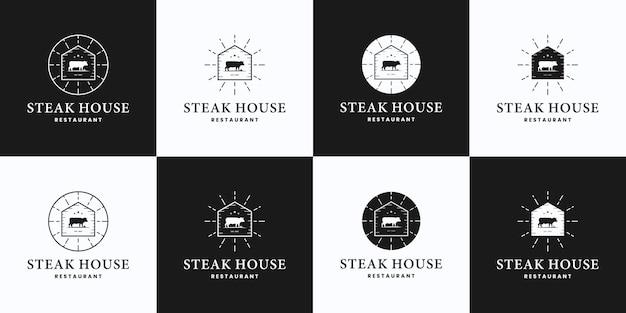 Set di steak house, mucca, bistecca di manzo, fattoria, logo ranch design stile vintage Vettore Premium