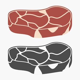Set di icone di carne di bistecca. illustrazione vettoriale.
