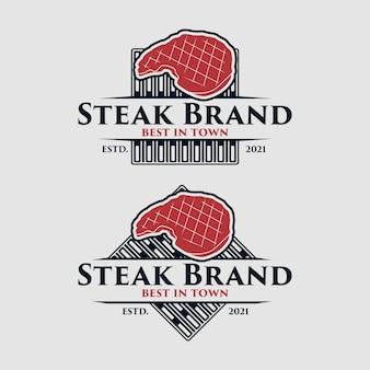 Set di modello di logo del negozio di bistecche