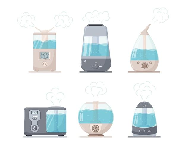 Un insieme di umidificatori ad ultrasuoni a vapore di diverse forme. un generatore di nebbia.