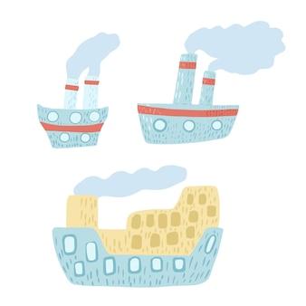 Impostare il battello a vapore carino su sfondo bianco. nave blu da cartone animato con vapore in stile doodle