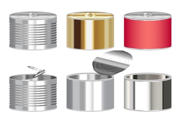 Set di una scatola di cibo in scatola cilindro d'acciaio