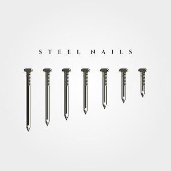 Set di chiodo in acciaio oggetto isolato illustrazione
