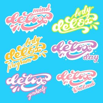 Set di sticker design con scritte detox. illustrazione vettoriale