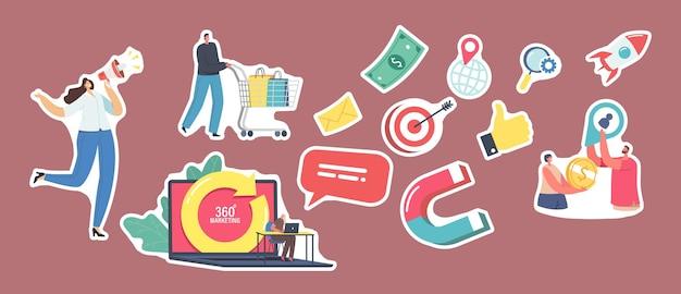 Set di adesivi a tema marketing a 360 gradi. personaggio promotore con megafono, cliente con carrello della spesa, laptop con freccia girevole, bersaglio, pollice in su e posta. cartoon persone illustrazione vettoriale