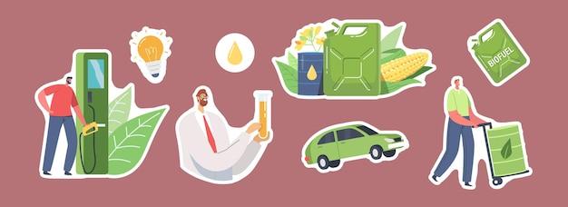 Set di adesivi tema biocarburante. scienziato con pallone e lavoratore con caratteri di barile verde. tanica per carburante, mais e piante, lampadina, goccia e auto. illustrazione di vettore della gente del fumetto, icone