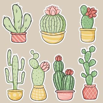 Set di adesivi di cactus e piante grasse in stile cartone animato disegnato a mano. illustrazione vettoriale.