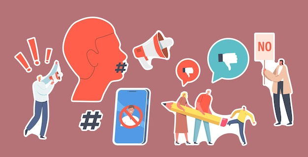 Set di adesivi annulla il divieto di cultura, cancella il tema dell'identità. personaggi che cancellano persona, attivista con altoparlante su riot, smartphone e testa con bocca hashtag. cartoon persone illustrazione vettoriale