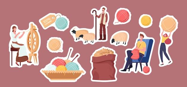 Set di adesivi a tema di produzione di cashmere. donna che fila la lana su ruota, pastore capre al pascolo, uomo maglieria abbigliamento, sacco con lana grezza e cartellino, aghi e bugne. cartoon persone illustrazione vettoriale
