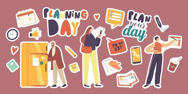 Set di adesivi tema pianificazione giorno. personaggi che riempiono la lista delle cose da fare, il calendario, il taccuino con la lista dei doveri e delle offerte. smartphone con applicazione o promemoria e caffè. cartoon persone illustrazione vettoriale