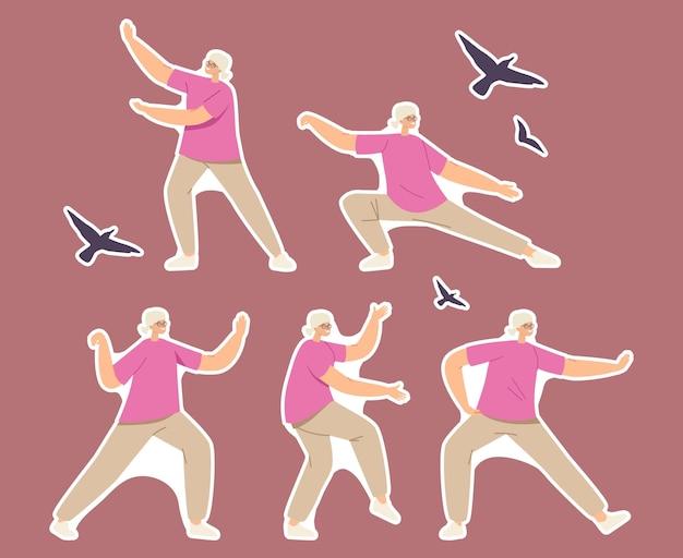 Set di adesivi donna anziana che si esercita, facendo movimenti e pose di tai chi per un corpo sano, flessibilità e benessere