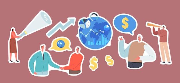 Set di adesivi tema opportunità di investimento globale. personaggi di uomini d'affari che stringono la mano, guardando in cannocchiale sul globo terrestre, donna con torcia, strategia di investimento. cartoon persone illustrazione vettoriale