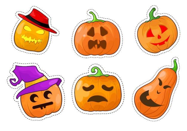 Set di adesivi zucca di halloween.