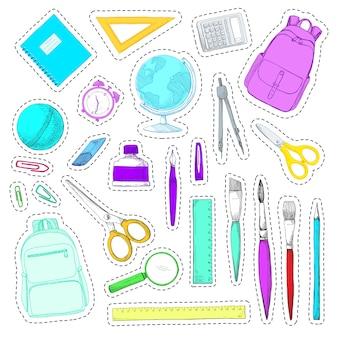 Set di adesivi. materiale scolastico disegnato a mano isolato su priorità bassa.