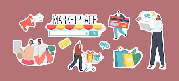 Set di adesivi marketplace retail business theme, shopping online, app negozio digitale o browser per pc. i personaggi utilizzano il servizio di vendita mobile. acquirenti che acquistano merci. cartoon persone illustrazione vettoriale
