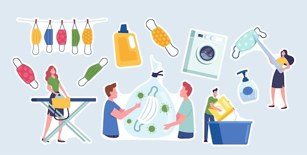 Set di adesivi maschere riutilizzabili cura e tema del riciclaggio. personaggi lavaggio, stiratura e asciugatura maschere riutilizzabili, getta rifiuti. prevenzione dell'infestazione da covid. cartoon persone illustrazione vettoriale