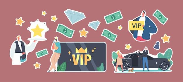 Set di adesivi vip card, stile di vita di persone famose. personaggi di lusso con carte d'oro ottieni un servizio premium, donna con cane entra in limousine, cameriere trasporta la stella sul vassoio. fumetto illustrazione vettoriale