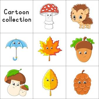 Set di adesivi con simpatici personaggi dei cartoni animati autunno clipart