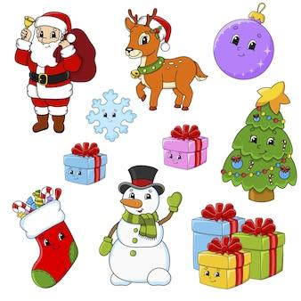 Set di adesivi con simpatici personaggi dei cartoni animati. tema natalizio. disegnato a mano.