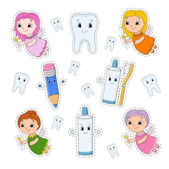 Set di adesivi con simpatici personaggi dei cartoni animati. clipart dentale.