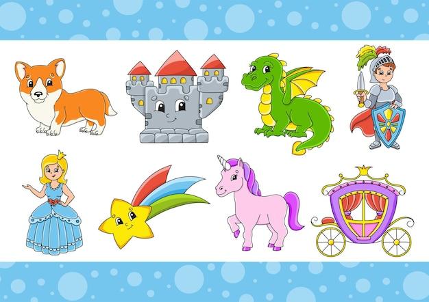 Set di adesivi con simpatici personaggi dei cartoni animati. clipart di fantasia.