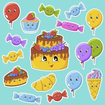 Set di adesivi con simpatici personaggi dei cartoni animati. tema di buon compleanno. disegnato a mano. confezione colorata.