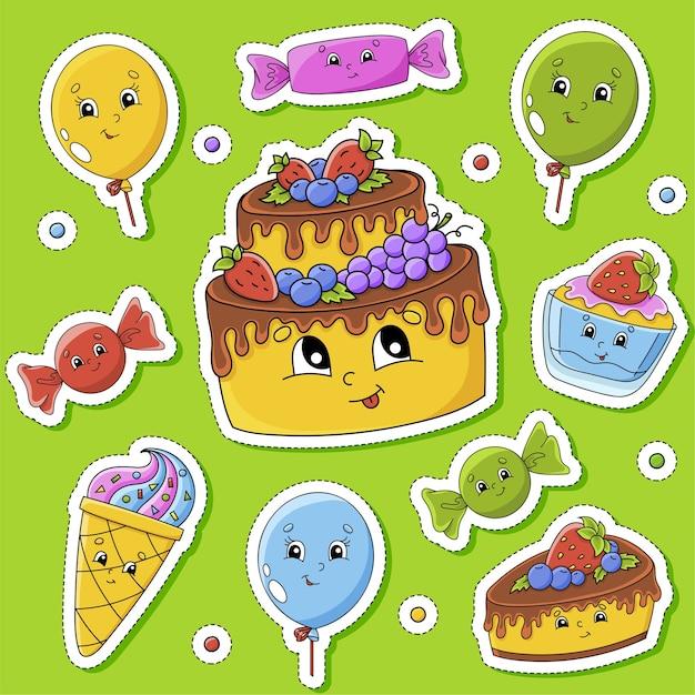 Set di adesivi con simpatici personaggi dei cartoni animati. tema di buon compleanno. disegnato a mano. colorato.